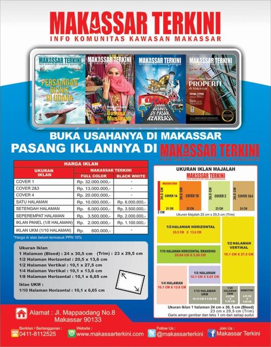 Harga Iklan Majalah Makassar Terkini 2013